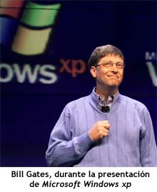 Bill Gates, durante la presentación de Microsoft Windows xp