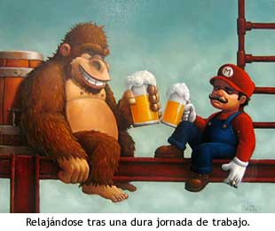 Mario y Donkey Kong relajándose tras la dura jornada laboral.