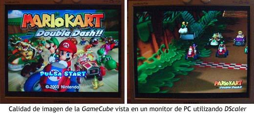 Calidad de imagen de la GameCube vista en un monitor de PC utilizando DScaler