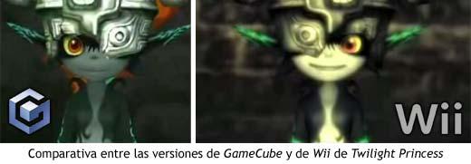 Comparativa entre las versiones de GameCube y Wii de Twilight Princess, en las que la imagen se ha invertido