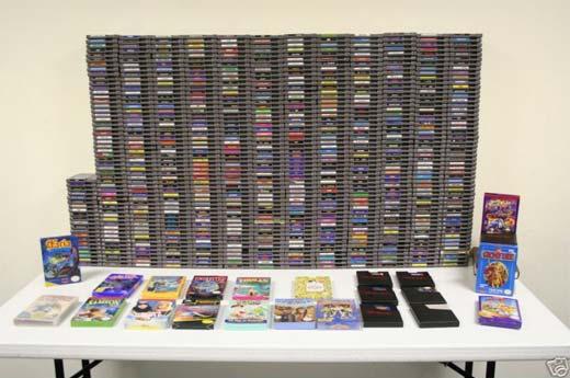 670 juegos de NES apilados unos sobre otros.