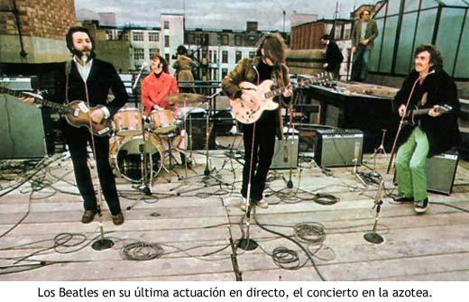 Los Beatles en su última actuación en directo, el concierto en la azotea.