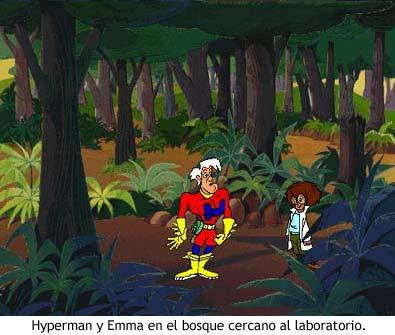 Hyperman y Emma en el bosque.