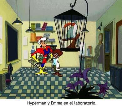 Hyperman y Emma en el laboratorio.