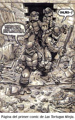 Página del primer comic de Tortugas Ninja.