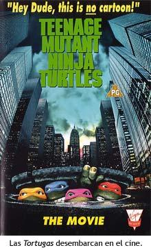 Cartel de la primera película de las Tortugas Ninja.