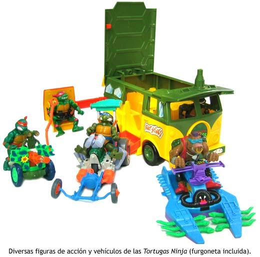 Diversos vehiculos de juguete de las Tortugas Ninja.