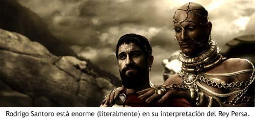 El rey persa Jerjes habla con Leónidas.