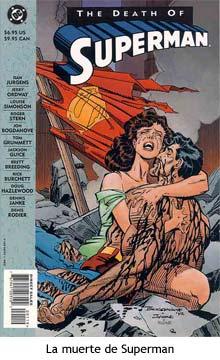 La muerte de Superman en brazos de Lois Lane.