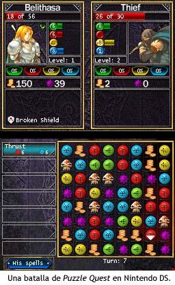 Batalla de Puzzle Quest en Nintendo DS