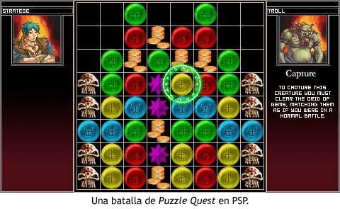 Batalla de Puzzle Quest en PSP