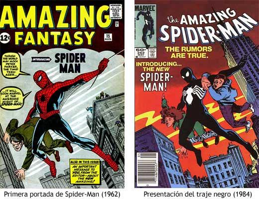 Portada original de Spider-Man (1962) junto a la portada de presentación del traje negro (1984)