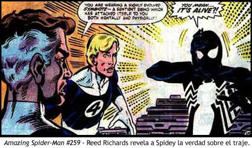 Amazing Spider-Man #259 - Reed Richards revela a Spidey la verdad sobre el traje.