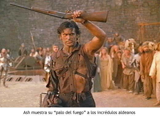 Ash muestra su escopeta a los aldeanos