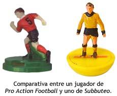 Comparativa entre las figuras de Pro Action Football y Subbuteo