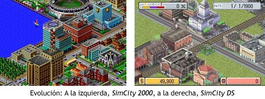 Evolución entre SimCity 2000 y SimCity DS