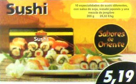 Cartel con el precio de la ración de Sushi de LIDL