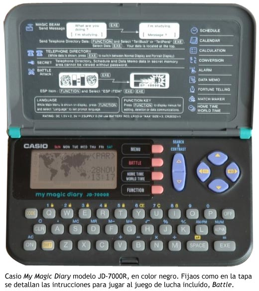 Casio My Magic Diary JD-7000R con juego de lucha incluido