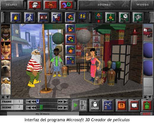 Interfaz del programa Microsoft 3D Creador de películas