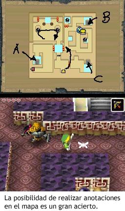 Zelda Phantom Hourglass - Realizar anotaciones en el mapa es muy útil
