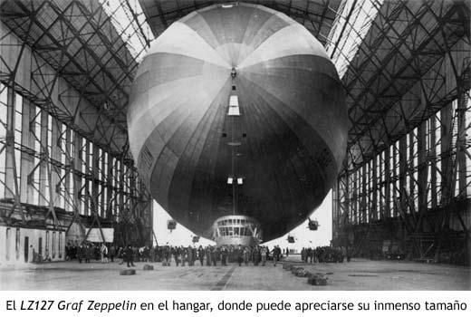 El LZ127 Graf Zeppelin en el hangar, donde puede apreciarse su inmenso tamaño