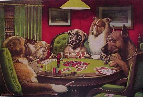 Dogs Playing Poker - A Bold Bluff