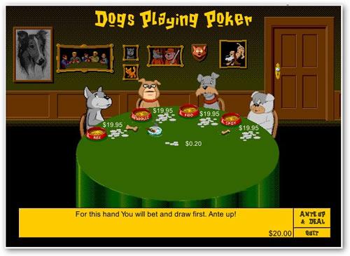 Juego Flash de Perros jugando al póquer
