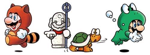 Super Mario Bros. 3 - Ilustraciones del manual de los disfraces del juego