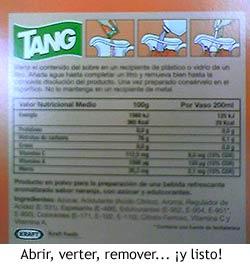 Tang - Instrucciones de preparación