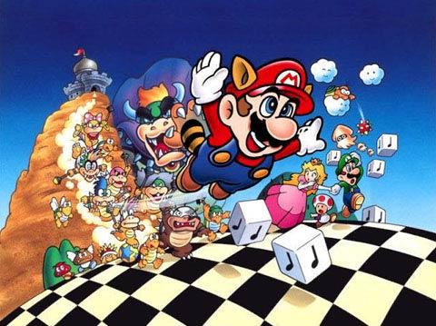 Super Mario Bros. 3 - Ilustración con todos los personajes