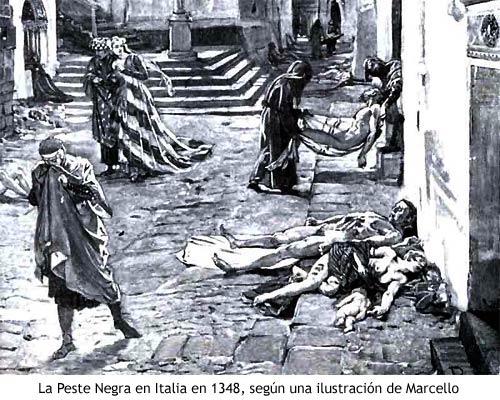La Peste Negra - Ilustración de Marcello, 1348
