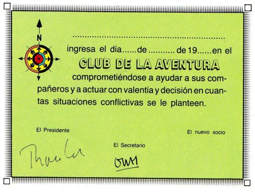 Tú vives la aventura - Carné del club