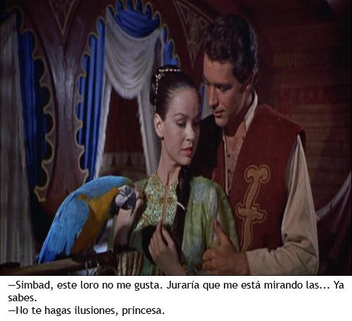 Simbad y la princesa - Simbad y Parisa con un loro