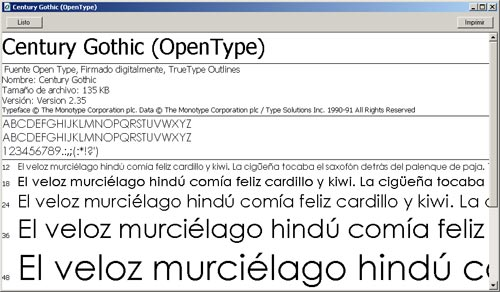 Previsualización de una tipografía en Windows