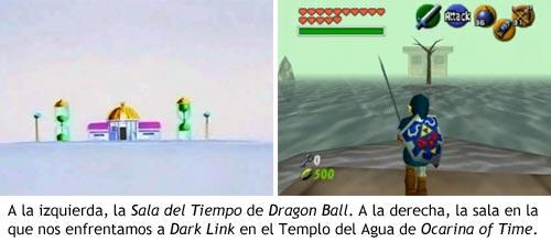 Zelda Ocarina of Time - Sala del Tiempo en Dragon Ball vs.Lucha contra Dark Link en el Templo del Agua