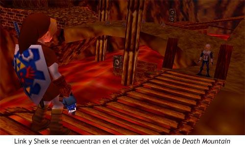 Zelda Ocarina of Time - Encuentro con Sheik en el cráter del volcán