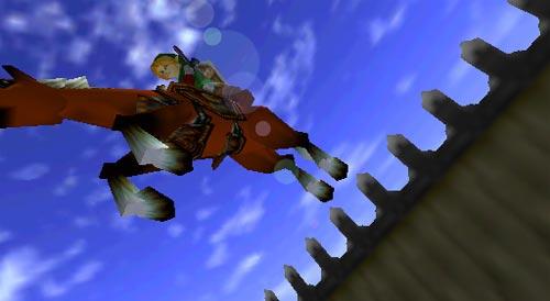 Zelda Ocarina of Time - Link salta la valla con Epona