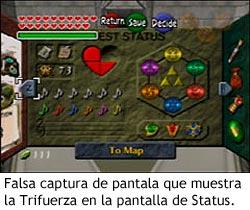 Zelda Ocarina of Time - Trifuerza en la pantalla de Status