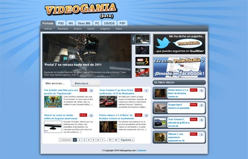 Videogamia.com - Portada de la web