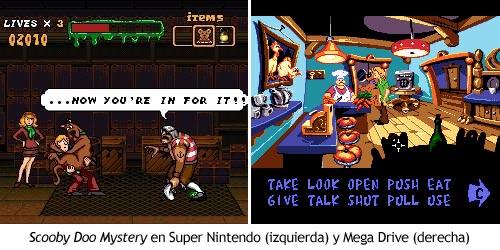 Scooby Doo Mystery - versiones de Super Nintendo vs Mega Drive