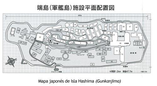 Gunkanjima - Mapa de la isla
