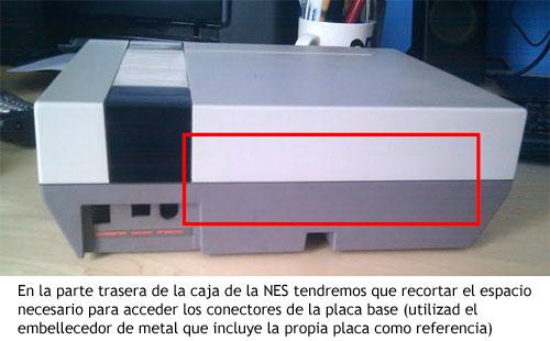 NES PC - Cortar área rectangular en la parte trasera para los conectores de la placa base