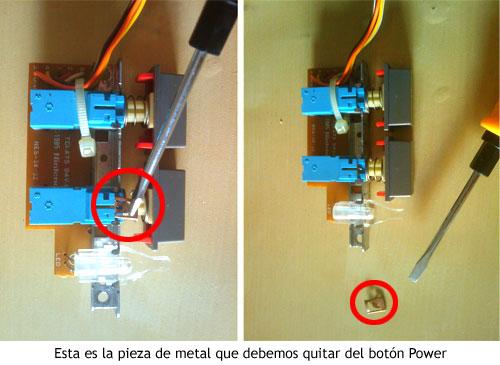 NES PC - Pieza de metal a extraer del botón Power