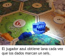 Colonos de Catán - El jugador azul obtiene lana cuando sale un seis en los dados
