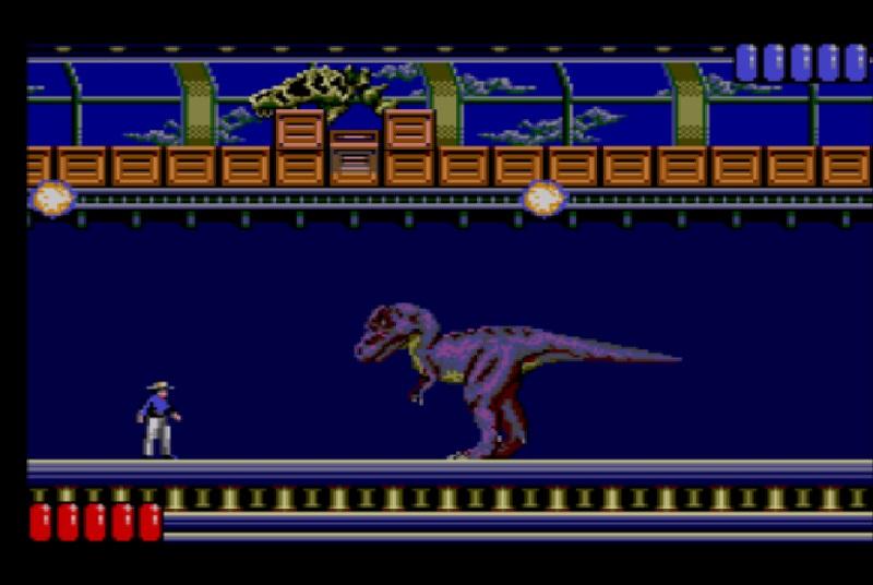 Jurassic Park Master System - Lucha contra el T-Rex exigía habilidad, paciencia, un buen uso de los botiquines y mucha astucia...