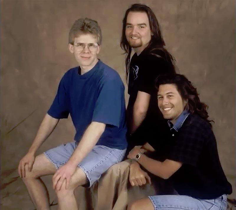 De izquierda a derecha: John Carmack, Adrian Carmack y John Romero