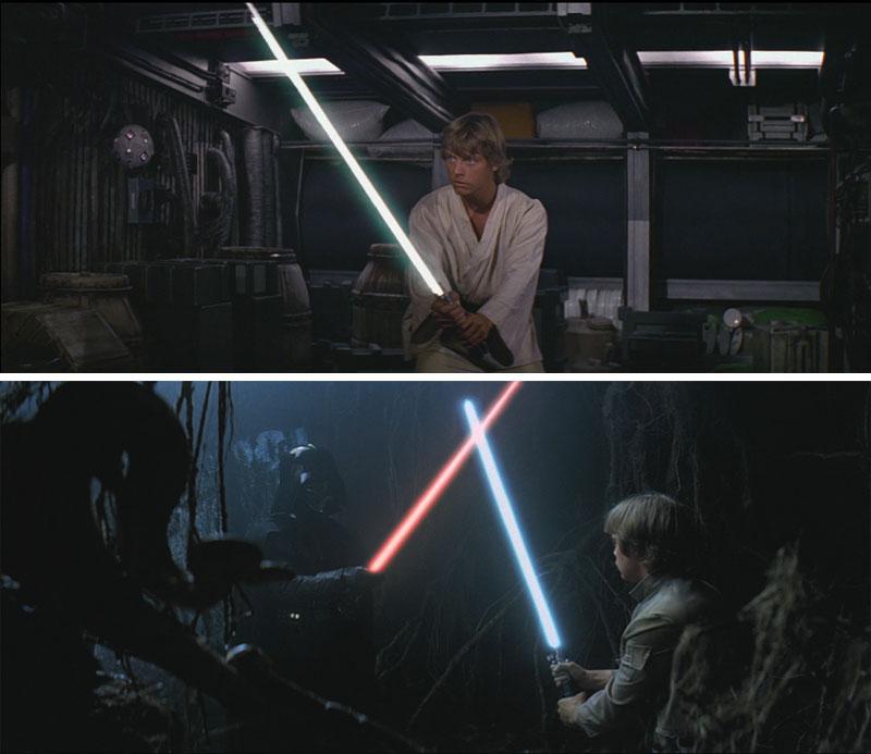 Star Wars Cambios - Sable de luz en los episodios IV y V