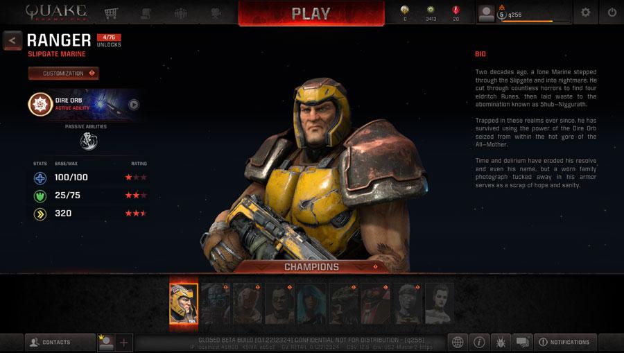 Quake Champions - Menú